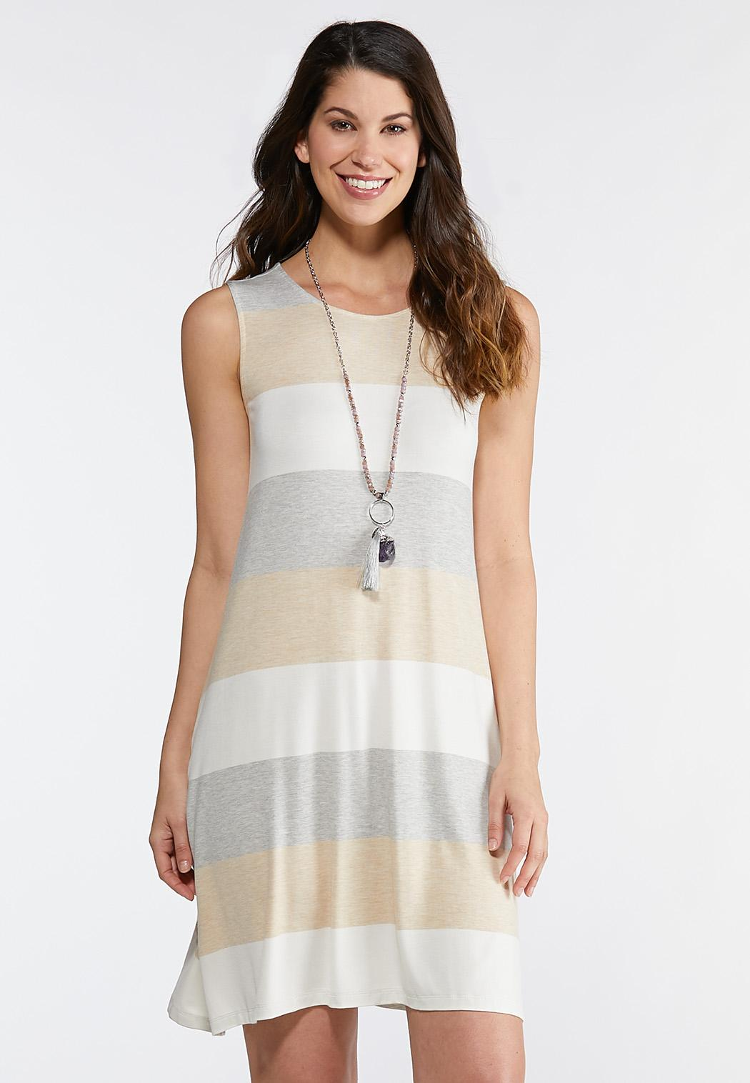 Plus Size Neutral Stripe Swing Dress