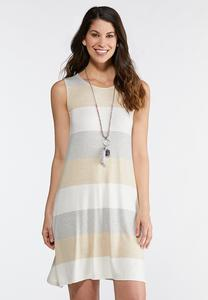 Plus Size Neutral Stripe Swing Dress