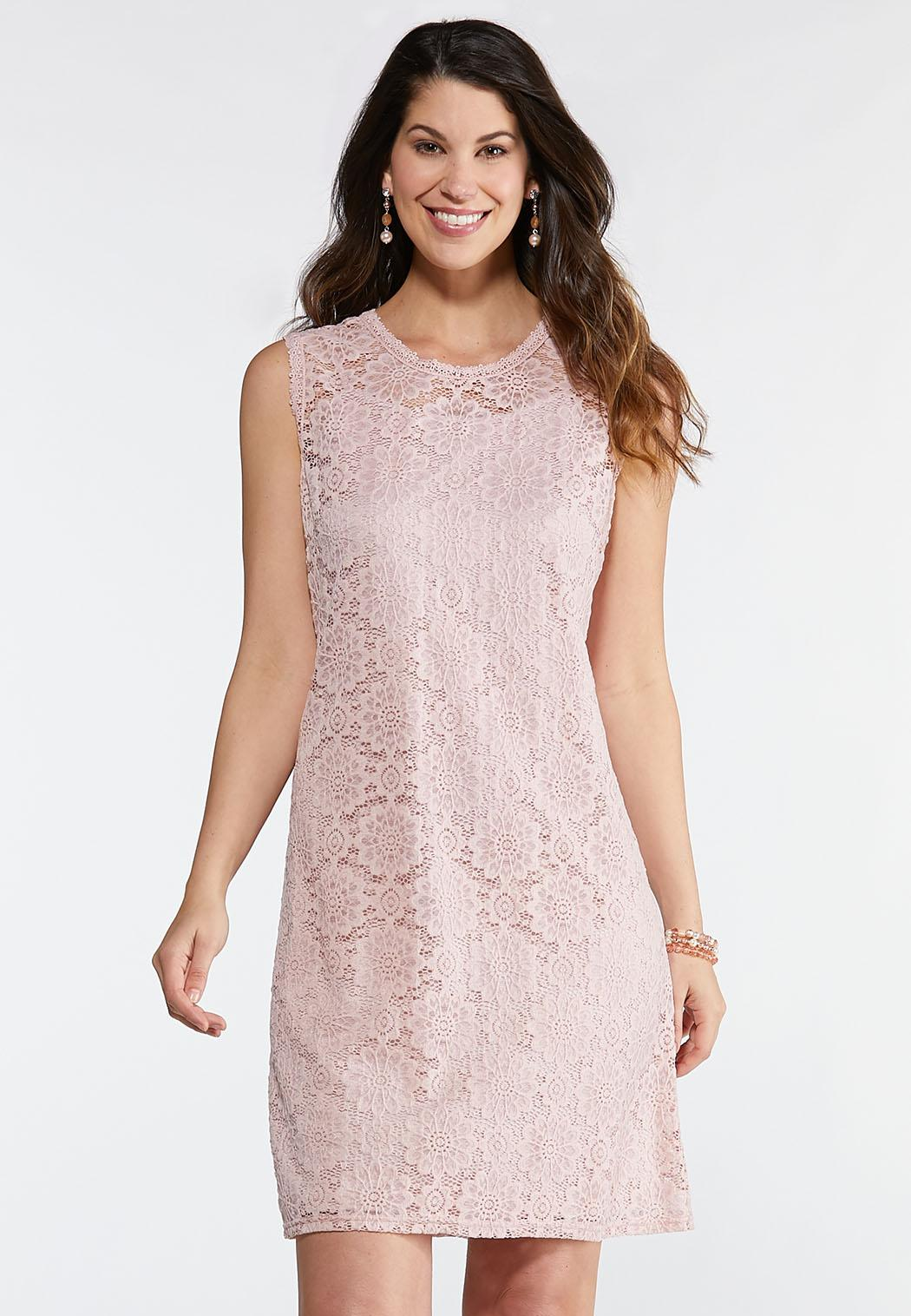 Plus Size Pink Floral Lace Dress