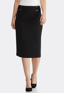 Plus Size Silver Hardware Pencil Skirt