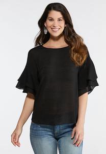 Plus Size Sheer Ruffled Sleeve Top
