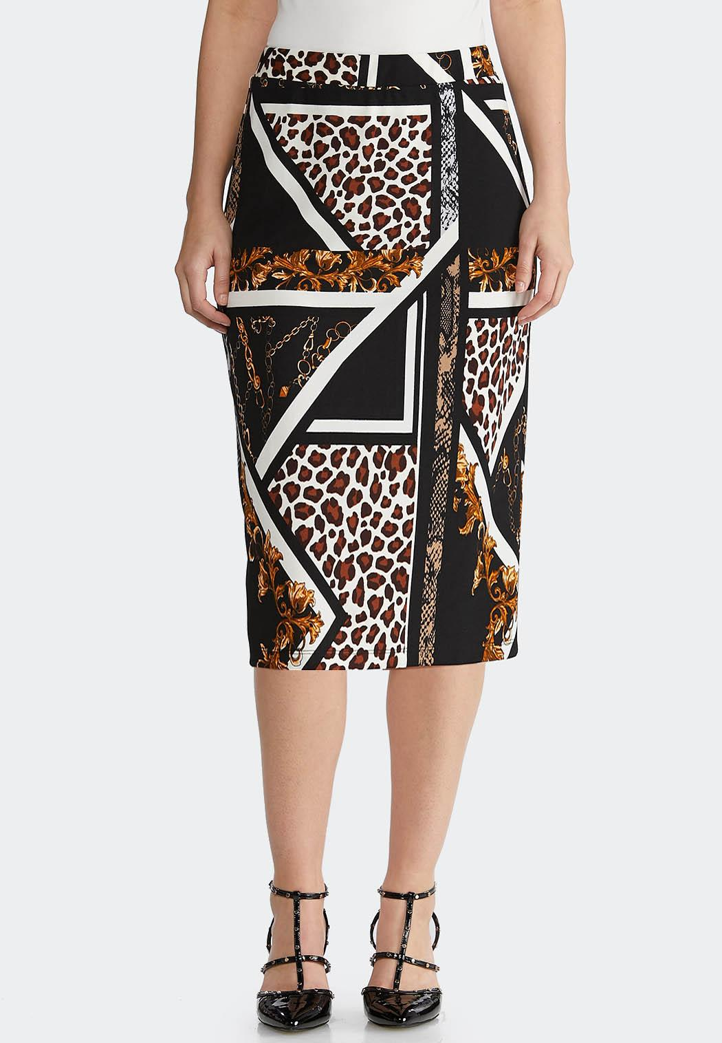 Plus Size Status Animal Pencil Skirt