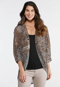 Plus Size Sheer Animal Print Kimono