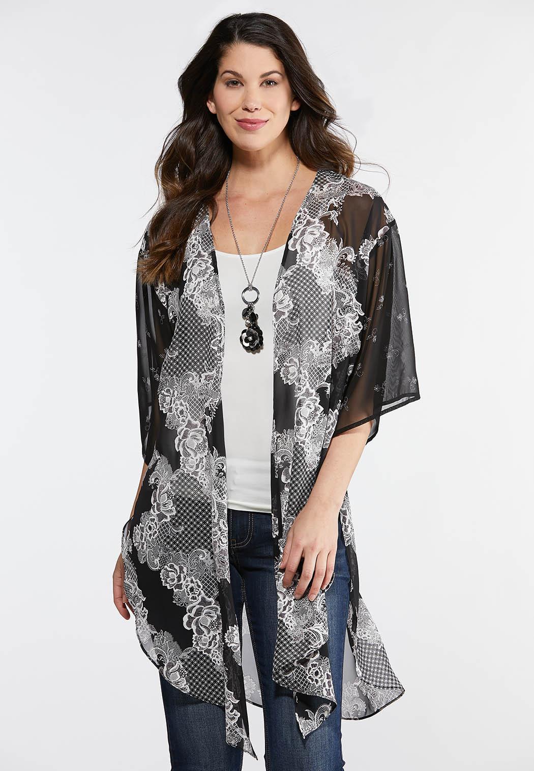 Textured Floral Kimono