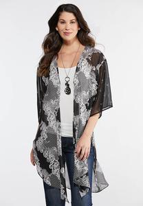 Plus Size Textured Floral Kimono