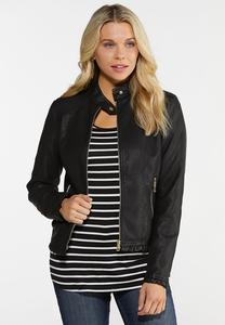 Black Ruffled Faux Leather Jacket