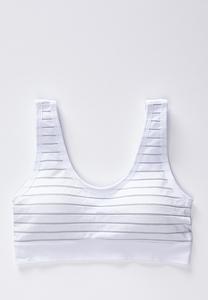 Plus Size Metallic Stripe White Sports Bra