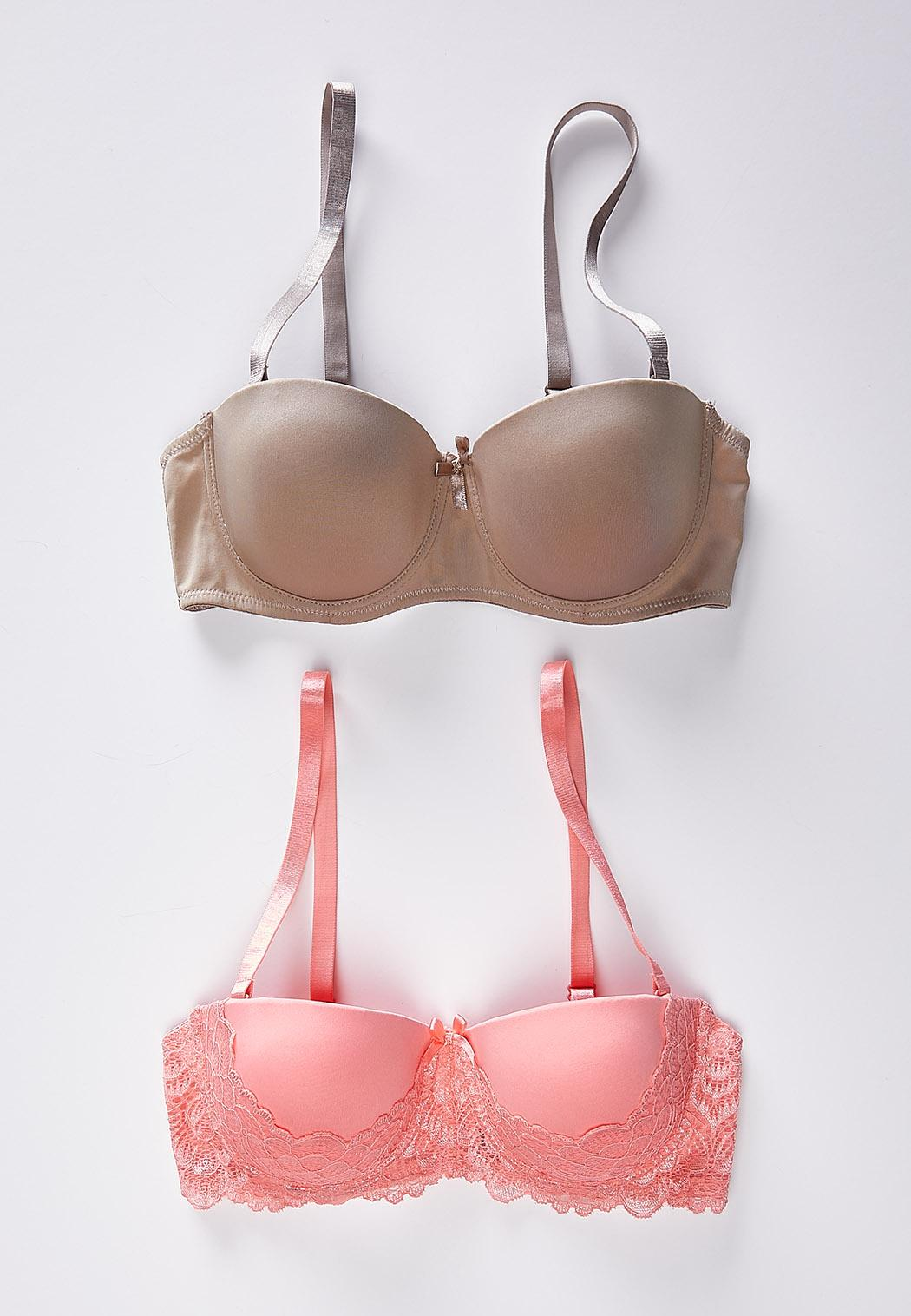 7704c98f8e Plus Size Coral And Taupe Convertible Bra Set Bras Cato Fashions