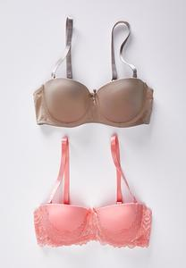 Plus Size Coral And Taupe Convertible Bra Set