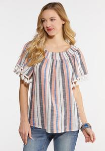 eae9df6d34b23 Plus Size Stripe Tasseled Top