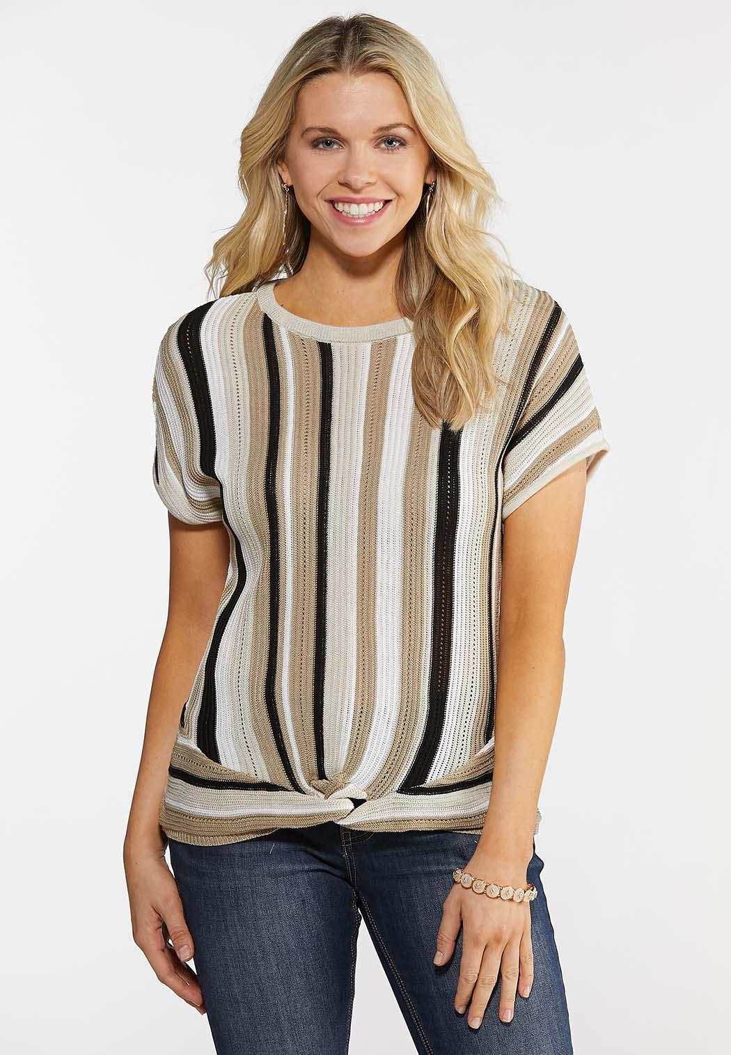 ff6c0f44a72b Knot Front Stripe Dolman Sweater Pullovers Cato Fashions