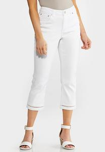 White Inset Cropped Jeans