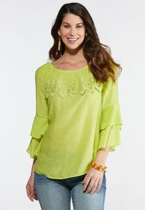 Plus Size Scalloped Lace Ruffle Sleeve Top