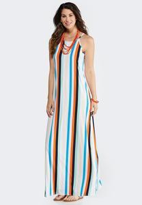 Petite Vertical Stripe Maxi Dress