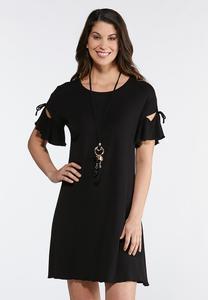Plus Size Tie Ruffle Sleeve Knit Dress