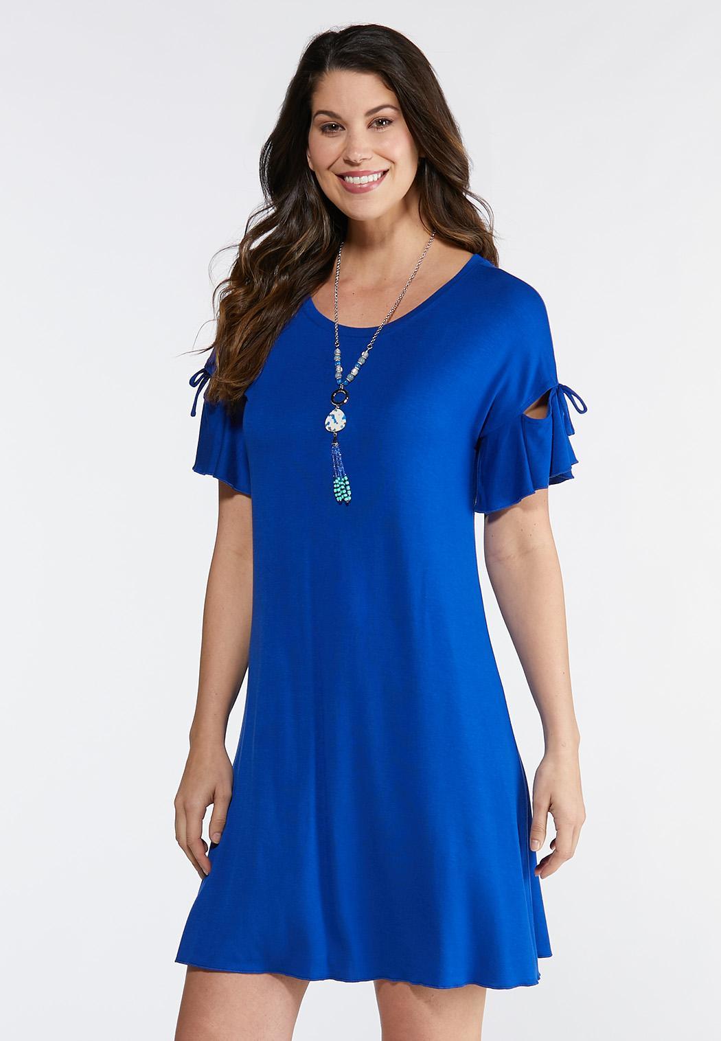 Plus Size Tie Ruffle Sleeve Knit Dress Dresses Cato Fashions