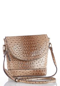 Fold Over Flap Ostrich Crossbody