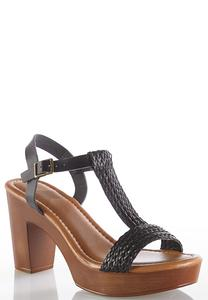 Woven Strap Chunky Heel Sandals