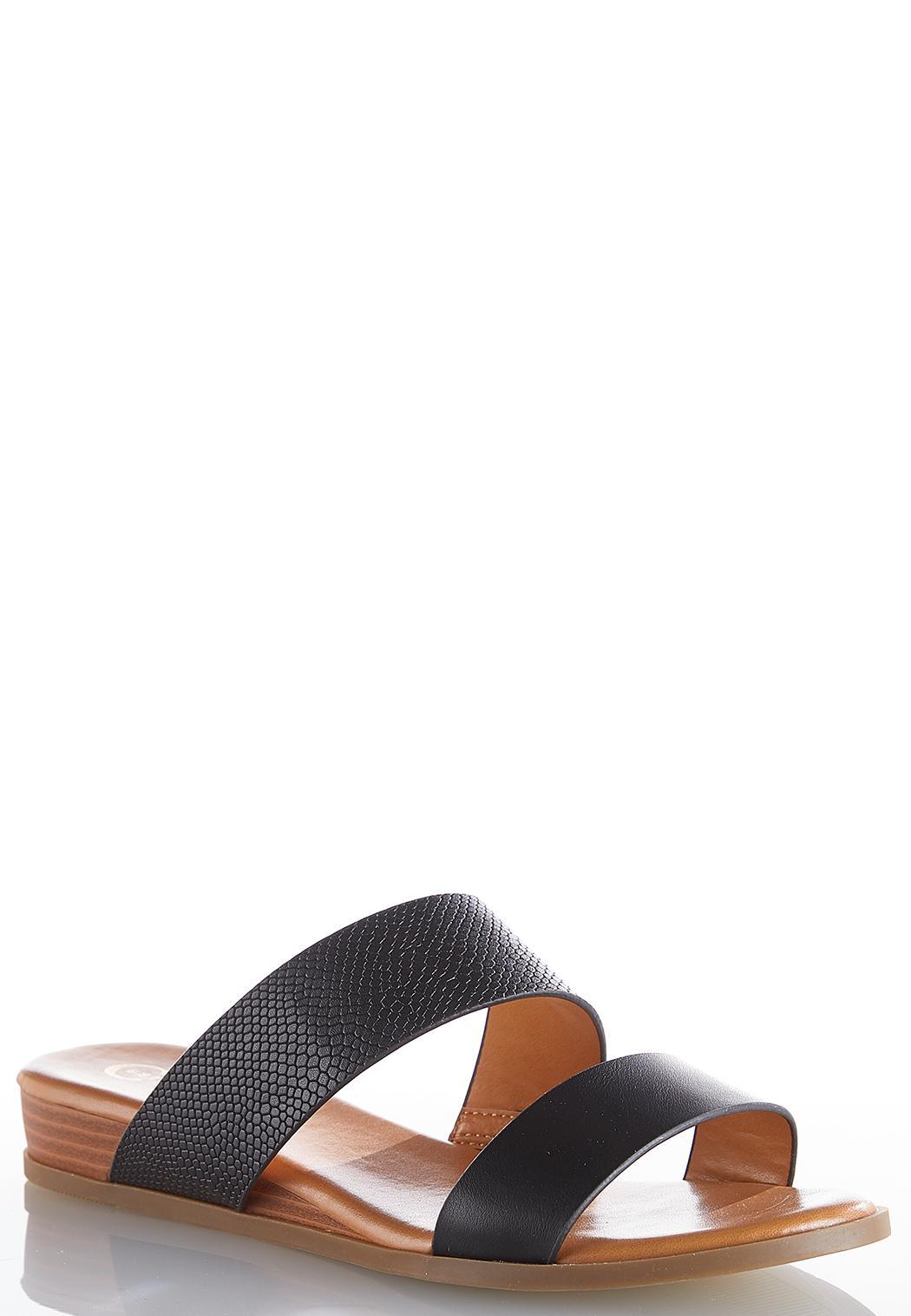 Snakeskin Strap Wedge Slides