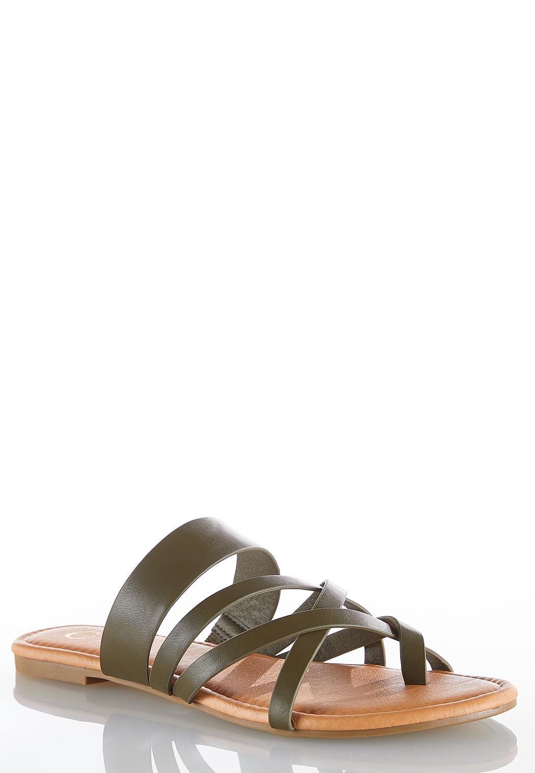 Cross Strap Toe Loop Sandals