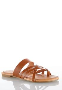 Cross Strap Toe Loop Sandals