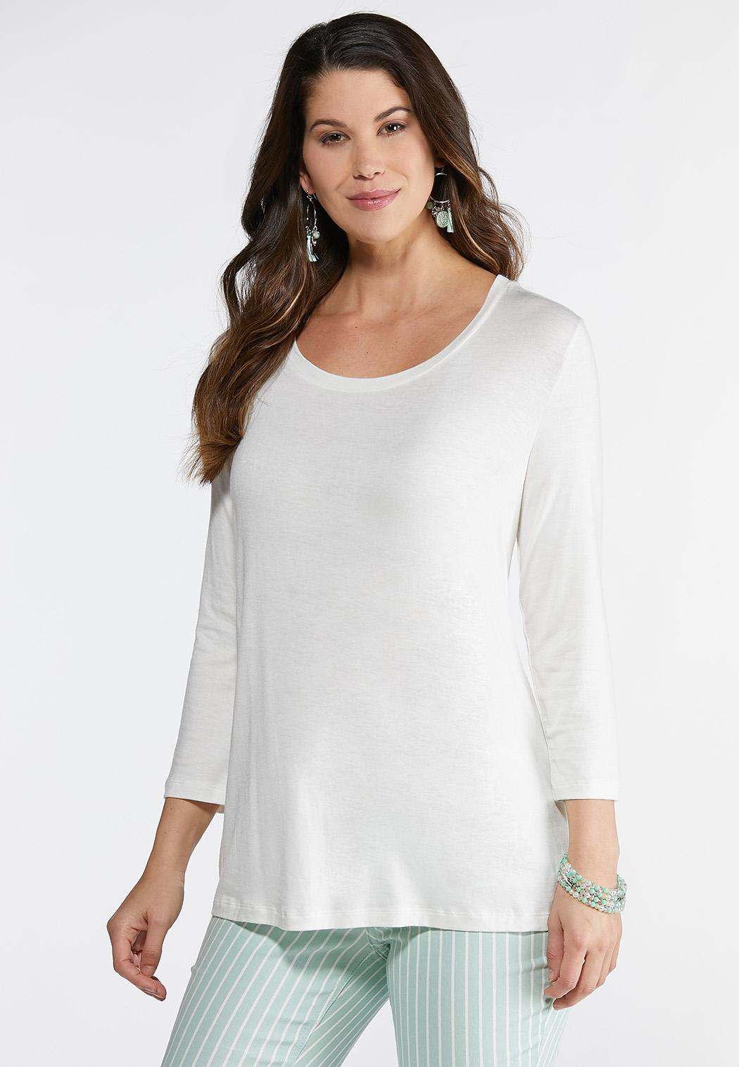 Plus Size Solid Scoop Neck Tee
