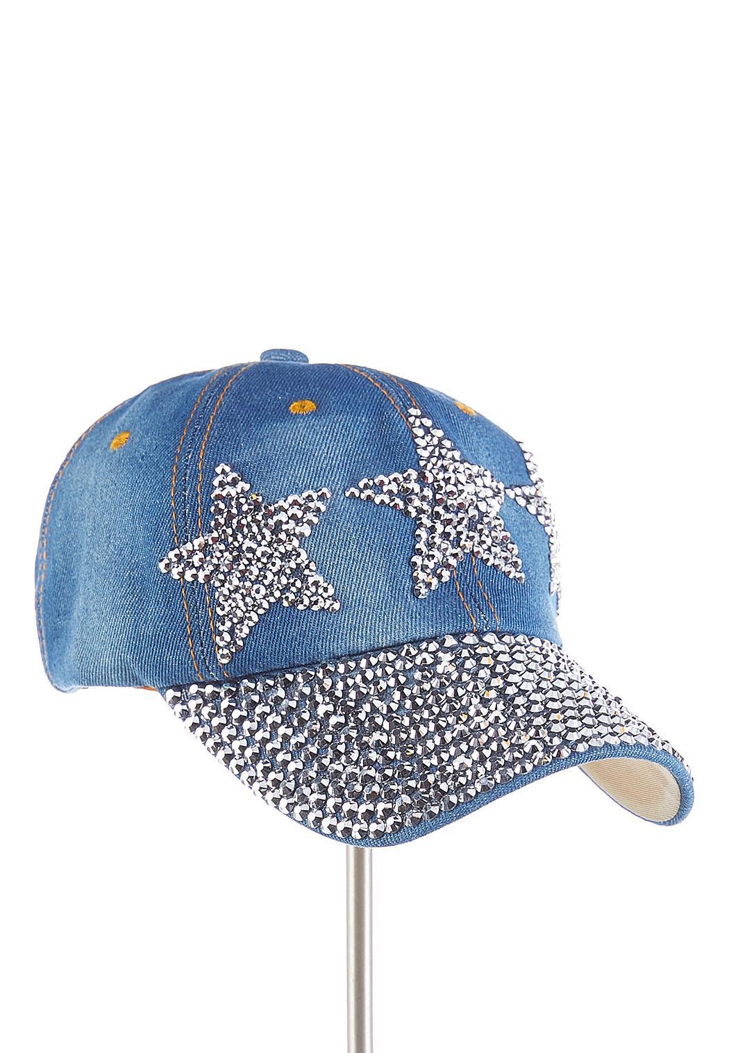 Triple Star Embellished Denim Cap