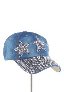 Triple Star Embellished Denim Cap