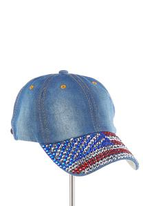 Americana Embellished Denim Cap