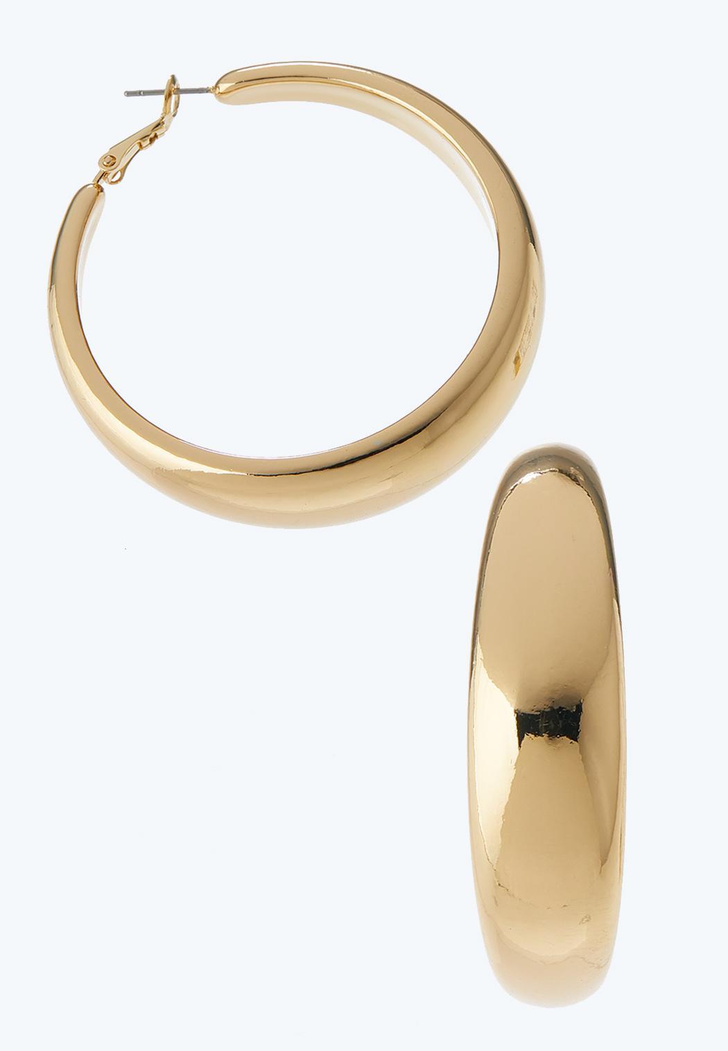 Snap Back Gold Hoop Earrings