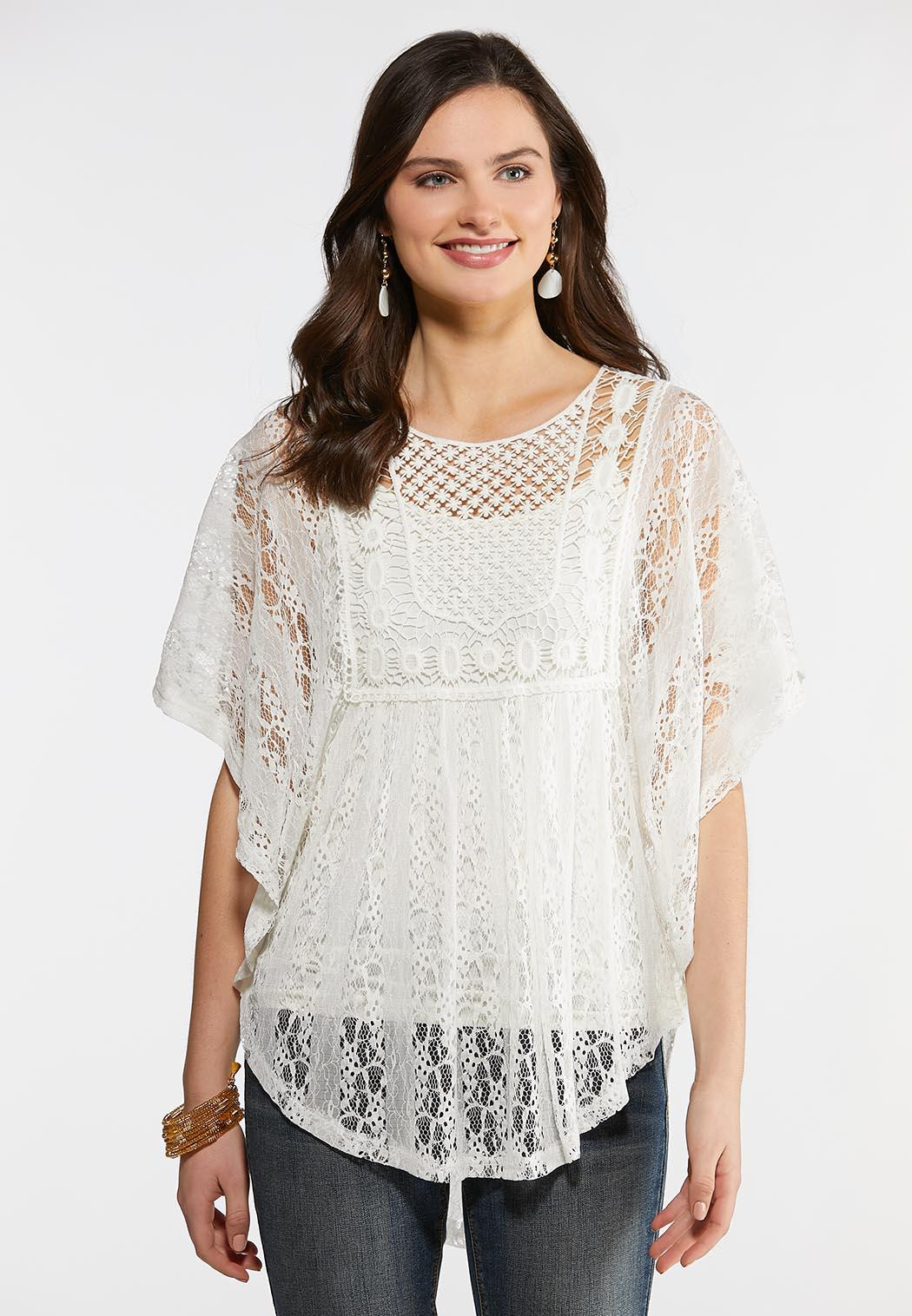 6f6c078857e9c1 Plus Size Solid Crochet Capelet Tees & Knit Tops Cato Fashions