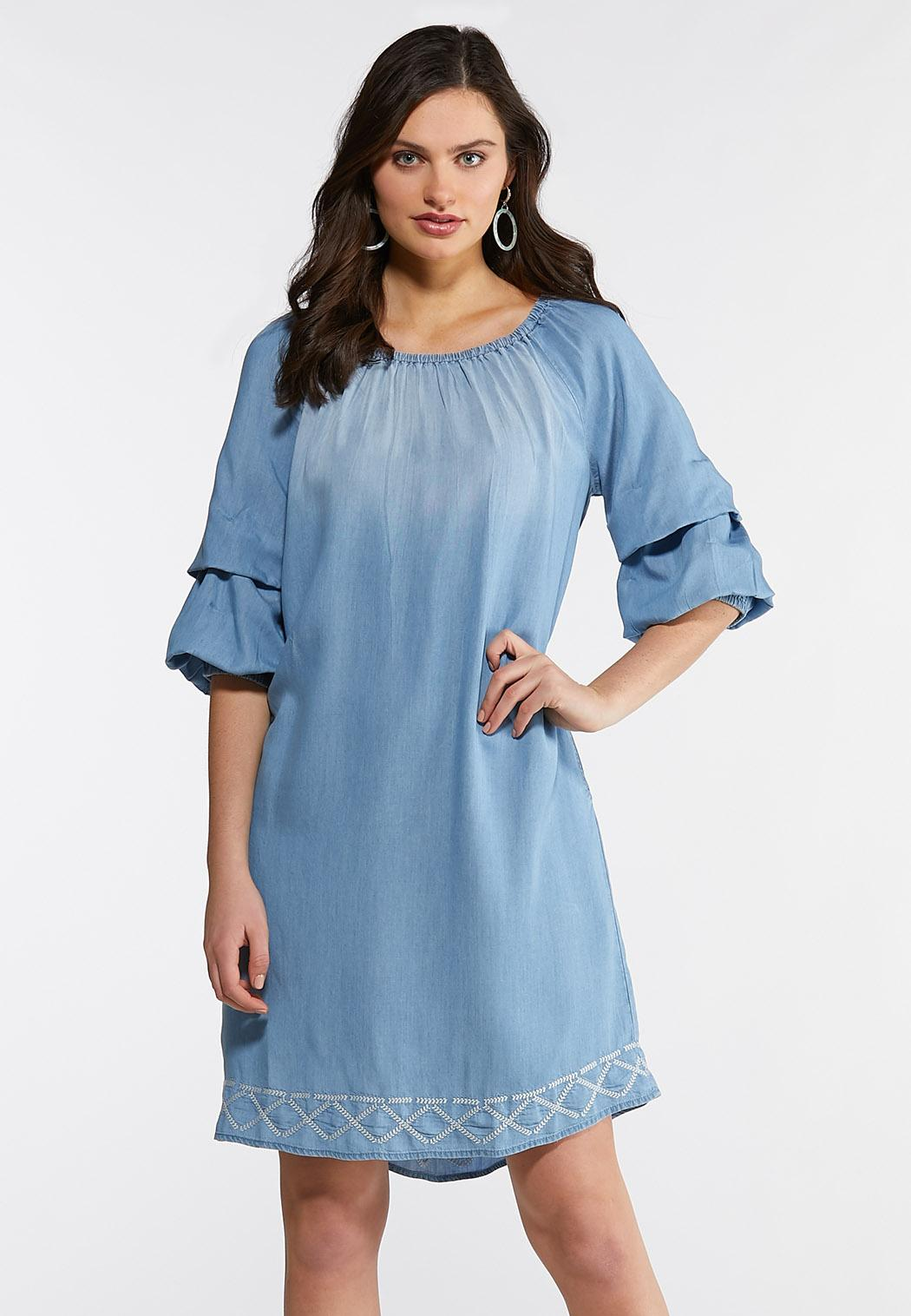 Plus Size Chambray Bubble Sleeve Dress Dresses Cato Fashions