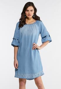 Plus Size Chambray Bubble Sleeve Dress