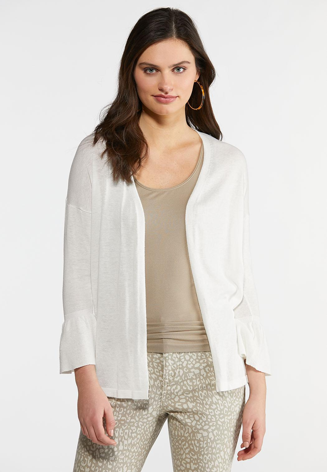 Plus Size Ruffled Sleeve Cardigan