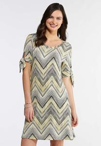 Plus Size Chevron Tie Sleeve Dress