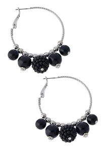 Dangle Ball Hoop Earrings