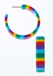 Rainbow Stripe Hoop Earrings