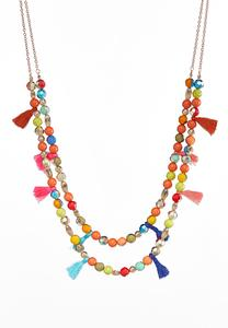 Rainbow Bead Tasseled Layering Necklace