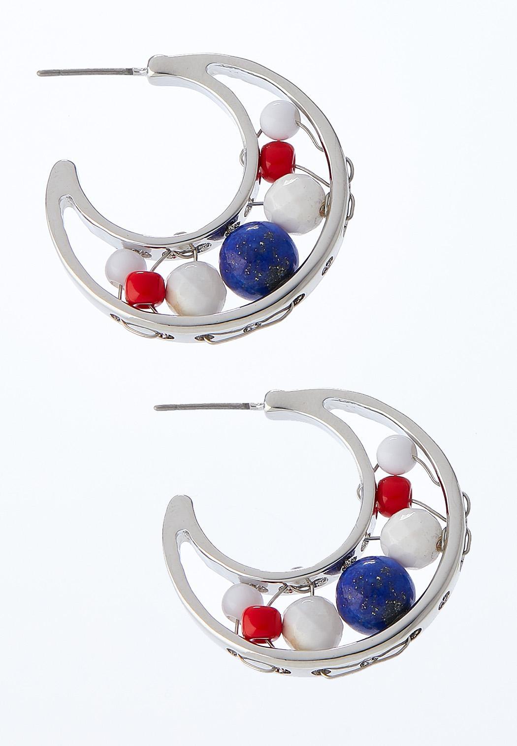 Americana Bead Hoop Earrings