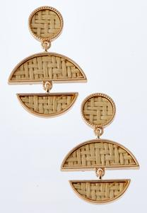 Woven Geometric Dangle Earrings