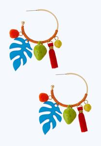 Palm Charm Hoop Earrings