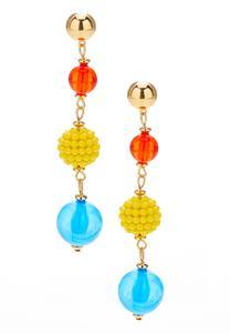 Linear Bead Dangle Earrings