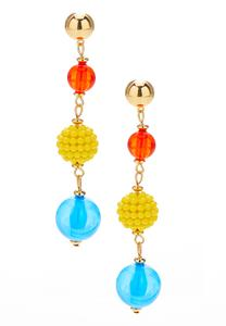 Linear Bead Dangle Earrings