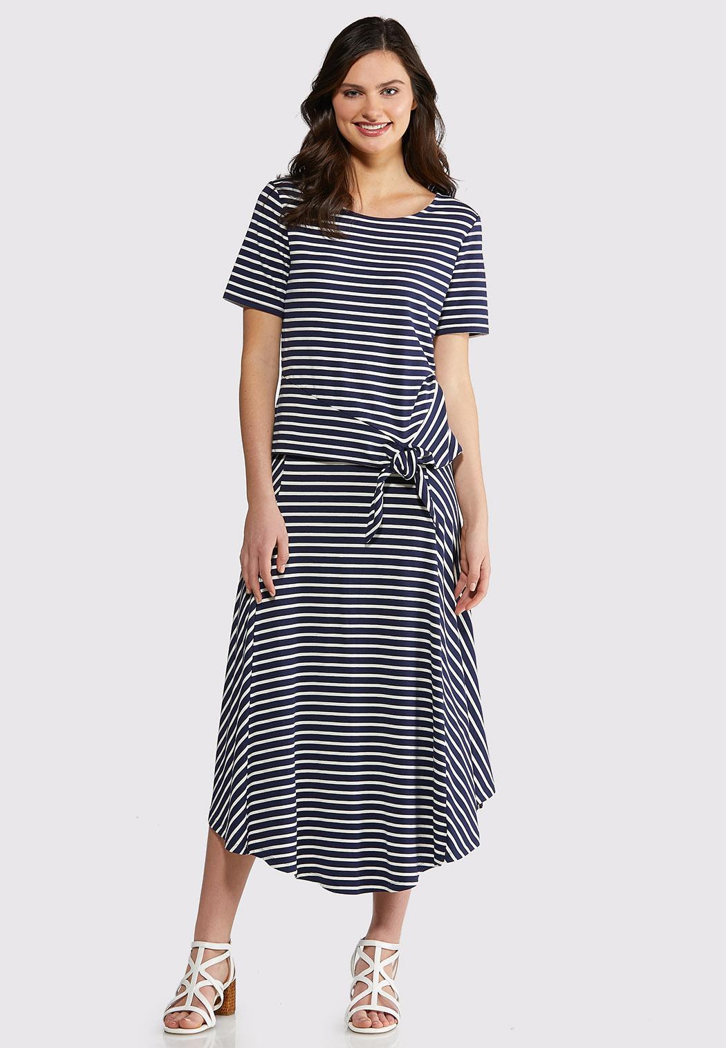 Plus Size Stripe Two Piece Skirt Set Plus Sizes Cato Fashions