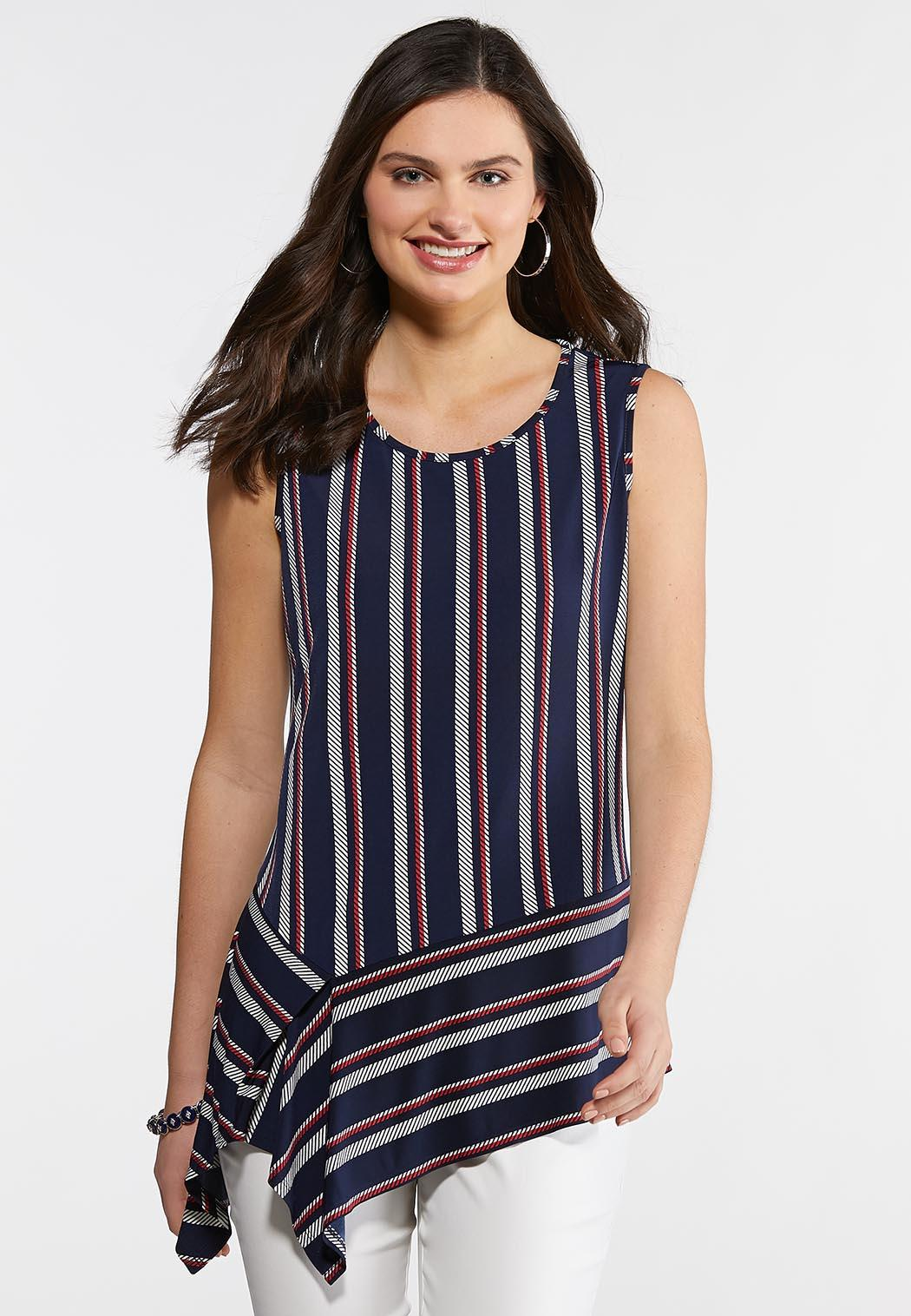 Plus Size Stripe Asymmetrical Peplum Tank Tops Cato Fashions