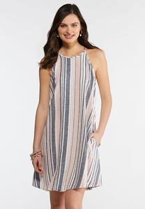High Neck Linen Swing Dress