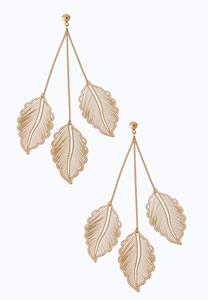 Triple Leaf Dangle Earrings
