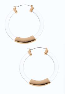 Gold Bar Lucite Hoop Earrings