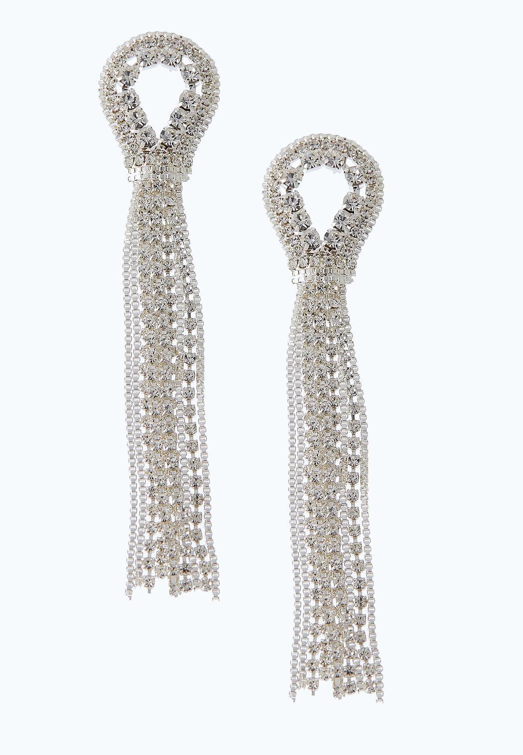 Chain And Stone Tassel Earrings