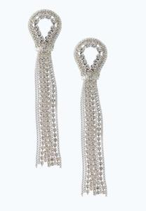 Chain And Stone Tassel Earrings
